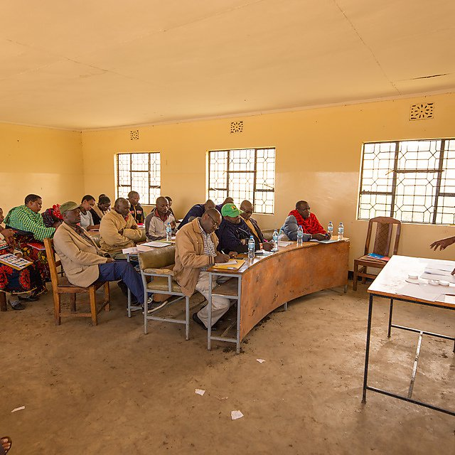 <p>Workshop taking place with the local community on the impact of soil erosion. Credit: Carey Marks</p>