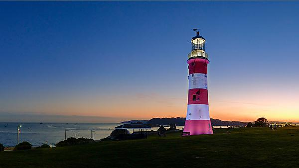 <p>Smeaton's Tower at sunset on Plymouth Hoe</p>