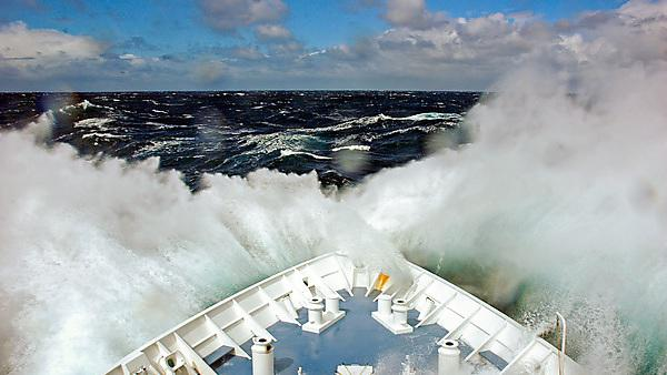 <p>MV Orion in the Southern Ocean. Orion bucks into high swells between Auckland Island and Macquarie Island, in the teeth of a Southwesterly gale</p>