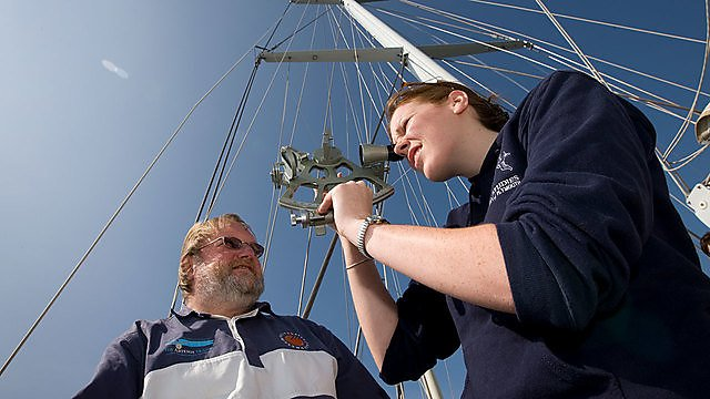 <p>Navigation student using a sextant&nbsp;</p>