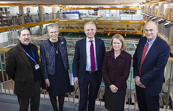 <p>The Rt Hon David Lidington CBE MP (centre) with, from left, Professor Kevin Jones, Vice-Chancellor Professor Judith Petts CBE, Professor Deborah Greaves OBE and Professor Richard Thompson OBE</p>