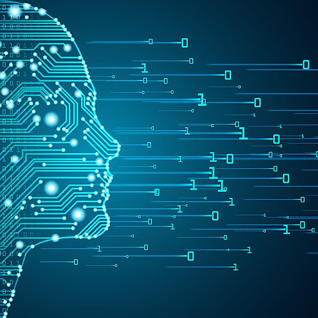 <p>Big data and artificial intelligence concept. Machine learning and cyber mind domination concept in form of women face outline outline with circuit board and binary data flow on blue background.<br></p>