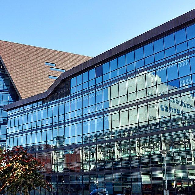<p>Roland Levinsky Building glass reflection</p>