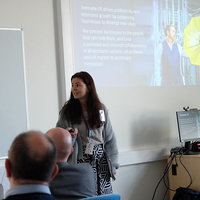 <p>Josie Gough explaining the role of Innovate UK to business<br></p>