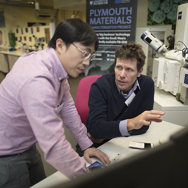 <p>Dr Yang Liu and Tim Searle of Composite Innovations Ltd who has used the FIB-SEM to gather objective information that has led to crucial process innovations for the company and their customers, through the Plymouth Materials Characterisation Project. <br></p>