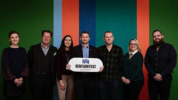 <p>Venturefest 2019 -&nbsp;&nbsp;Left to right: Jennifer Nimmo, Mark Wray, Elizabeth Zahoui, Richard Adams, Michael Dickinson, Lisa Vanstone and Oli Raud</p>