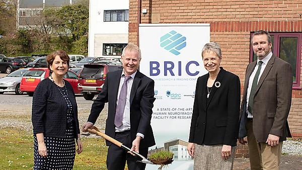 <p>Cutting the first turf for the new centre are, from left: Ann James, Dr Gary Smerdon, Professor Judith Petts CBE and Professor Stephen Hall<br></p>
