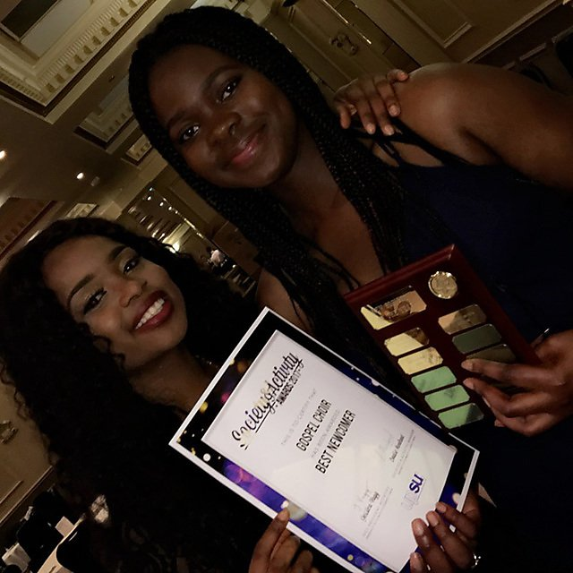<p>                   </p><p>Yewande Oduwole - Plymouth Gospel Choir winning the award for Best Newcomer at UPSU awards, with friend Ruth that created the choir</p>      <br><p></p>