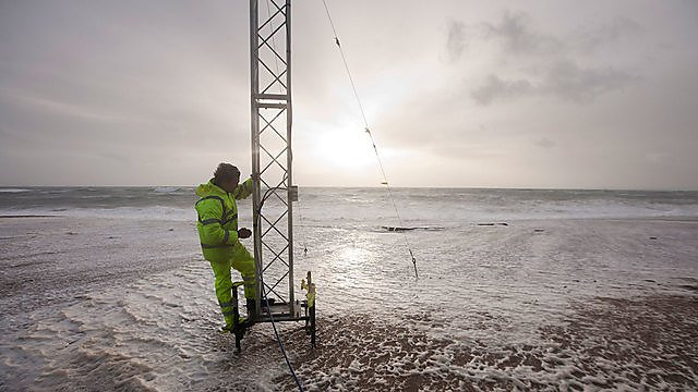 <p>Capturing storm data on Loe Bar beach</p>