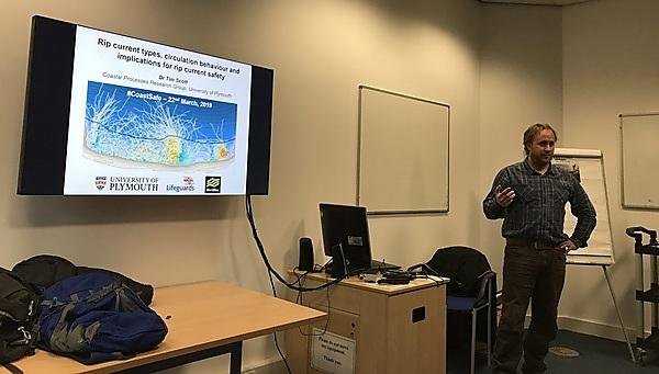 Dr Tim Scott presenting on his rip current research