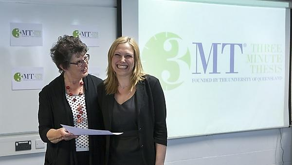 <p>Three Minute Thesis competition.&nbsp;Prize winner Annegret Schneider from the Medical and Dental School.<br>