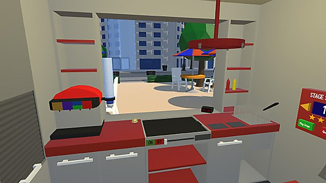 <p>Arron Burch's Bobby's Burgers VR – screenshot of the city</p>