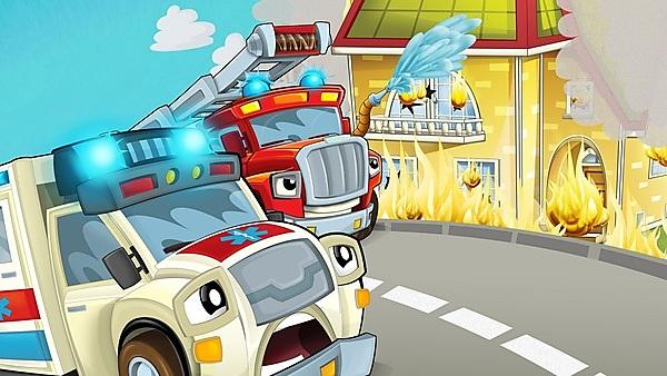 <p>cartoon scene in the city with ambulance driving through the city to fire accident to help people with fire brigade - illustration for children<br></p>