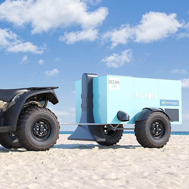 <p>Nurdle's trailer on the beach</p>