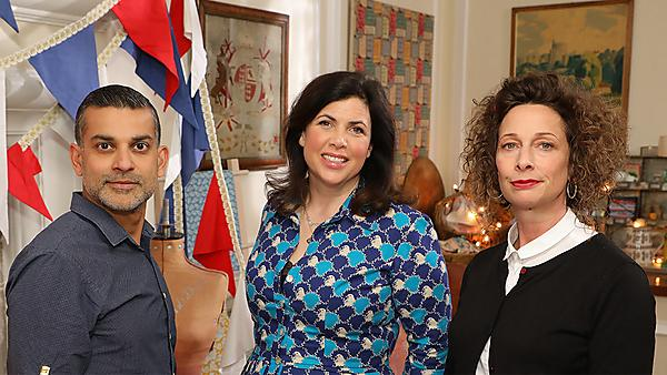 Kirstie Allsopp with judges Piyush Suri and Polly Macpherson (Image: Raise the Roof Productions)