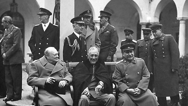 <p>The Yalta Conference, February 1945 with Winston Churchill, Franklin Roosevelt and Joseph Stalin - Public domain <br></p>