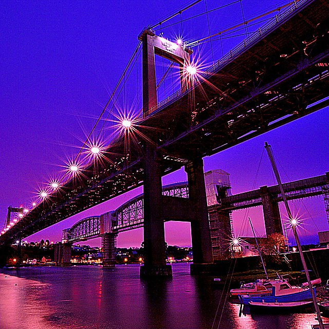 <p>Tamar Bridge at night. Getty Images</p>