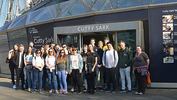 History students on a field trip to London visit the Cutty Sark