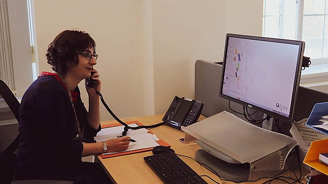 <p>Donna Butler, Gill Akaster Solicitors, on the phone to a client<br></p>