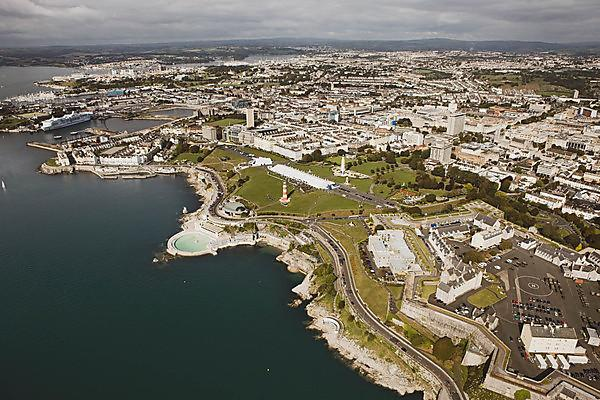 <p>Plymouth Sound and Hoe with graduation marquees<br></p>