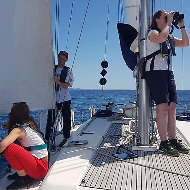 <p>On watch, recording any animals seen (marine mammals, birds, jellyfish...), boats, and litter<br></p>