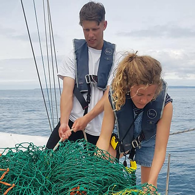<p>Ghost fishing net retrieved from the sea – it was abandoned and floating at the surface causing an entanglement risk for many marine animals.<br></p>