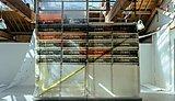'Screen Printed Monarflex in Black with Fluorescent Orange Backing on Scaffold Structure' Adam Garratt