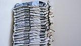 'High Rise, Printed Sand Bags in Black with Mulch Filling' Adam Garratt