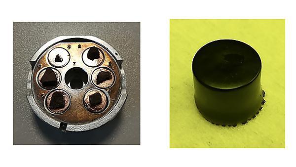 Figure: Graphene aerogels ready for SEM imaging (left). Graphene aerogel monolith (right).