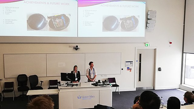 <p>Final-year MEng (Hons) Robotics students, Rebecca Harding and Charles Freestone presenting at the 20th TAROS conference<br></p>