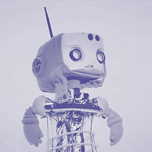 <p>Robot duo tone for The Bridge</p>