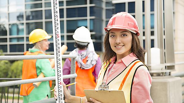 <p>STEM Female engineer or architect team working on a construction project in city<br></p>