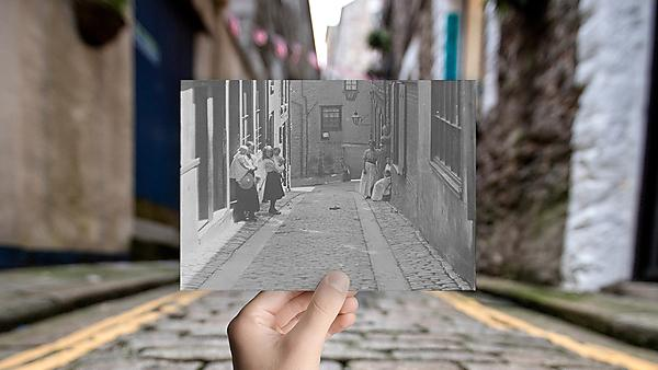 <p>History - modern street with photo in the past</p>