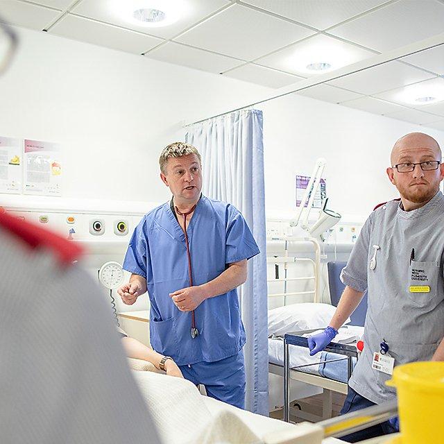 <p>Teaching nursing students</p>
