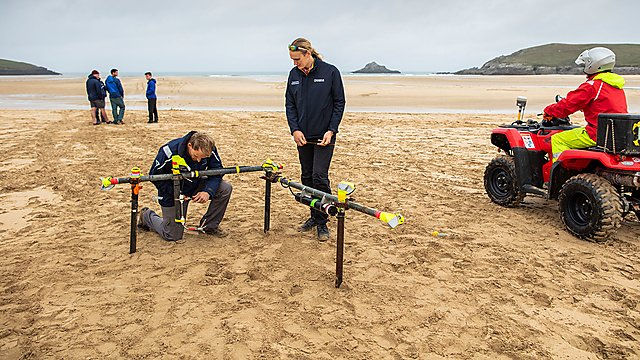 <p>CPRG researchers setting up wave-measuring equipment<br></p>