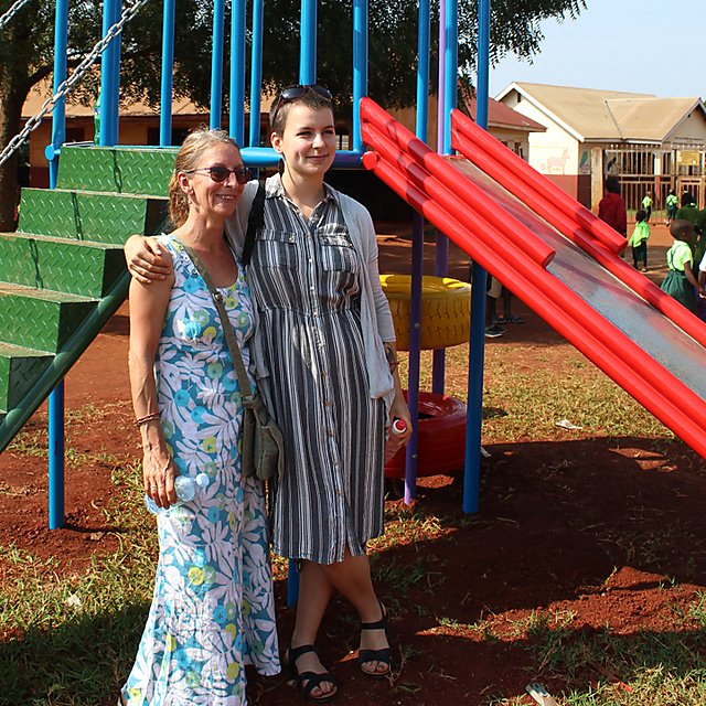 <p>Alice Mosley with her mother in Uganda, after helping to build a playground for a school.<br></p>