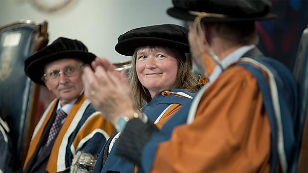 <p>Amanda Chessell receiving her honorary doctorate, 2013</p>