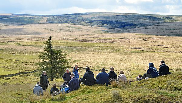 Dr Paul Lunt and students: a field class on Dartmoor