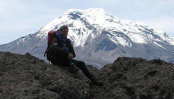 Paul Ramsay on the lower slopes of Chimborazo in Ecuador