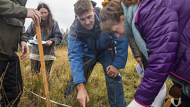 <p>Research lead Dr Paul Lunt with students assessing the ponies' impact (Credit Lloyd Russell, University of Plymouth)<br></p>