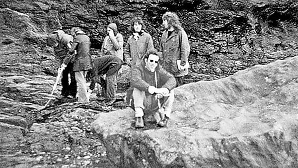 Local field trip visit to the Porthlevan erratic, Cornwall (1972)