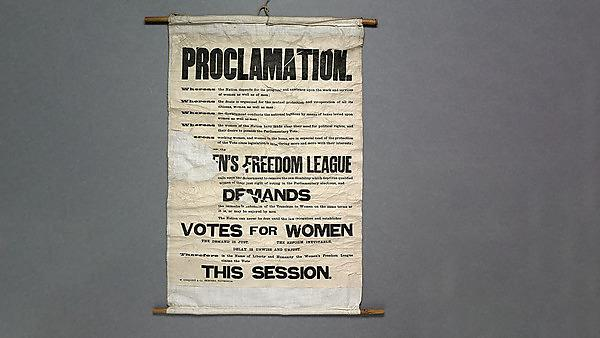 <p>Suffragette banner, 1908. Parliamentary Archives1<br></p>