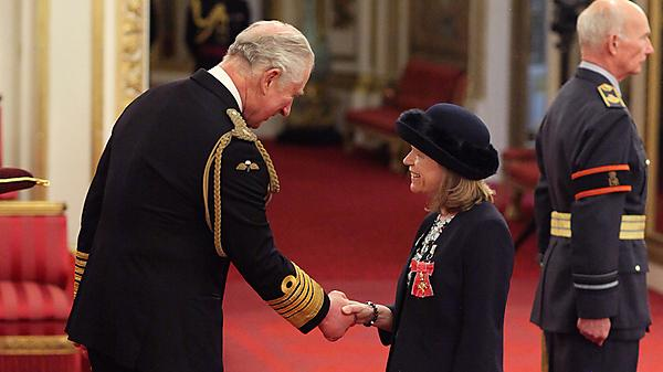 <p>Professor Deborah Greaves receives her OBE from HRH The Prince of Wales (Credit: PA Images)<br></p>