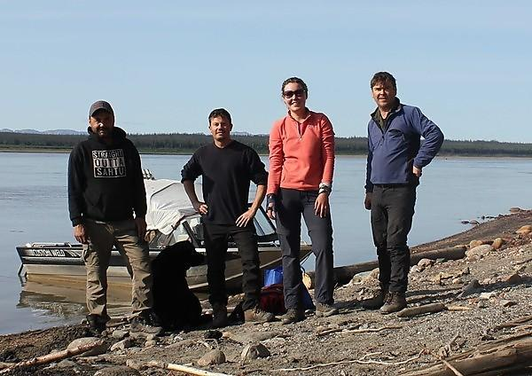 Group photo taken on the banks of the Mackenzie River