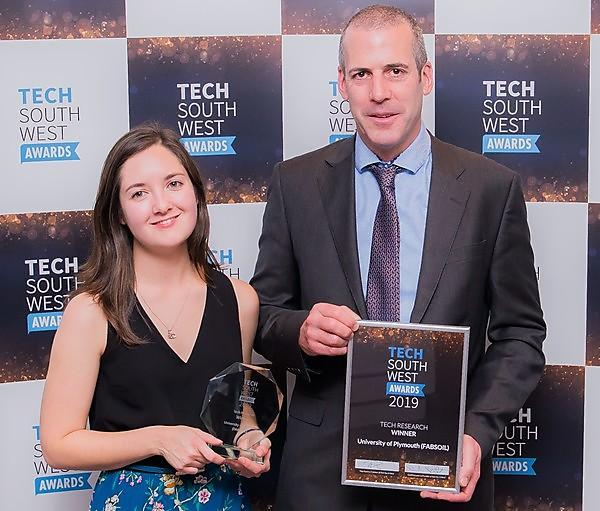 <p>FABSOIL wins at Tech South West Awards (Credit:&nbsp;Gareth Williams Photography)<br></p> Usage: Only to be used in connection with the FABSOIL Tech South West Award promotion