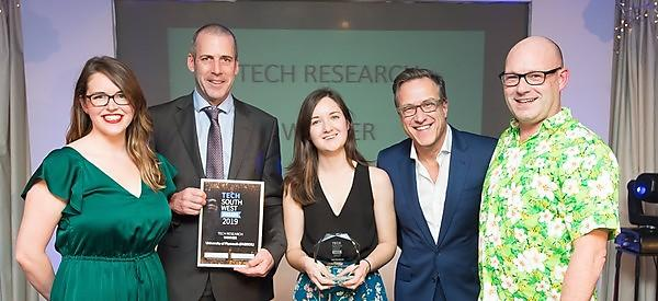 <p>Professor Mark Fitzsimons and Dr Kate Schofield are presented with their&nbsp;Tech South West Award (Credit: Gareth Williams Photography)</p>