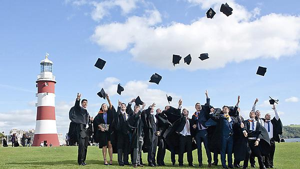 Graduating students on Plymouth Hoe