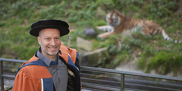 Benjamin Mee with his robes at Dartmoor Zoo (Hon Doctor of Science)