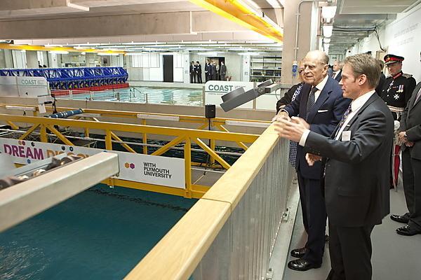 The Duke of Edinburgh is shown around the COAST Lab by Professor Martin Attrill