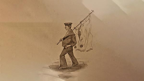 <p>                 From the sketchbook of Captain Coulton Elliott, R.N.R.  [1871-1927], image reproduced by courtesy of F.E.C. Gregory.    </p>